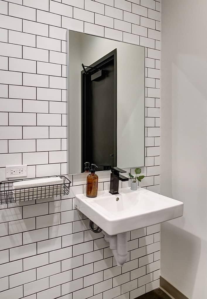 dental office bathroom sink and mirror